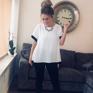 Tops - Logan Color Block Top: Black + White